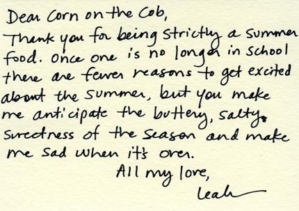 Dear Corn on the cob